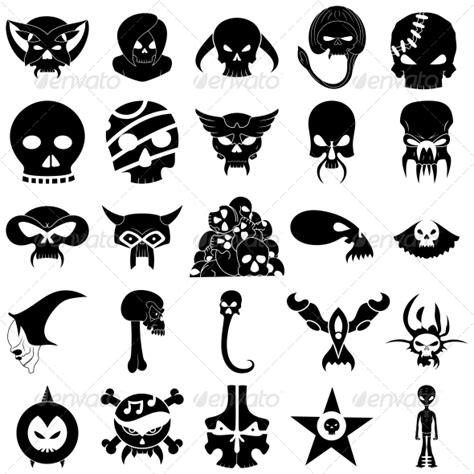 tattoo fonts pack stock vector graphicriver skull designs vector