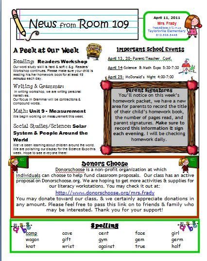 classroom weekly newsletter template primary inspired newsletter linky