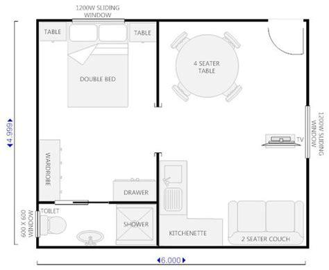 Granny House Floor Plans floor plan for granny flat 6m x 6m google search