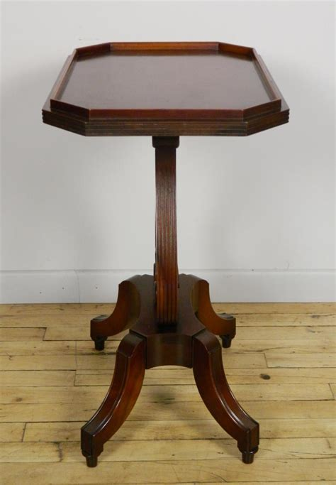 Table L Harp by Mahogany Harp Lyre Base Accent Table