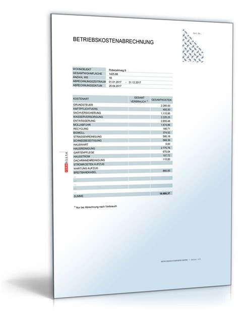 Musterbriefe Nebenkostenabrechnung betriebs und heizkostenabrechnung muster zum