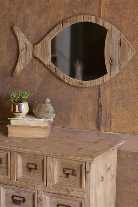 rustic wooden fish mirror for coastal decor this would