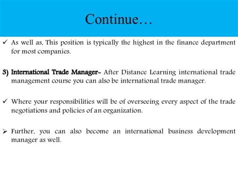 Scope After Mba In International Business by Post Graduation In International Trade Management Scope