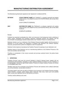 Manufacturing Agreement Template Free by Manufacturing Distribution Agreement Template Sle