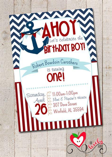 printable nautical birthday invitations nautical birthday boy party nautical first by thelovelyapple