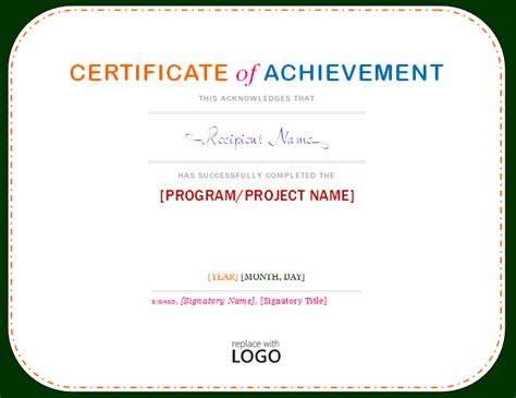 professional certificate templates certificate of achievement template microsoft word templates
