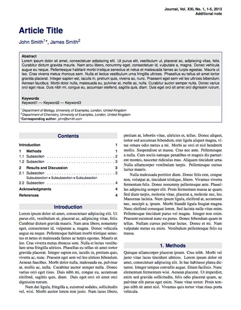 journal article layout template latex templates 187 stylish article
