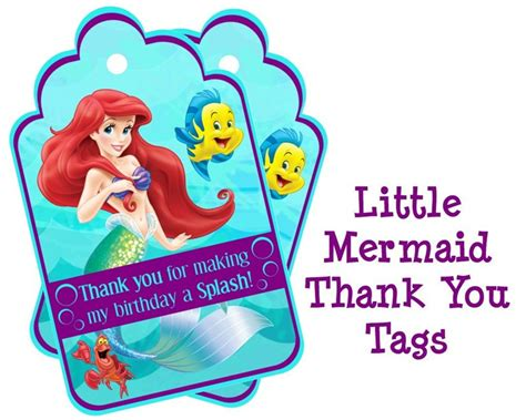printable little mermaid thank you cards disney little mermaid birthday thank you tags ariel