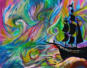 Surf Wall Murals handmade painting psychedelic ship pirate ship