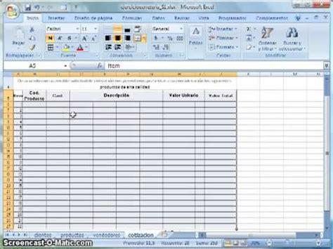 elaboracion de un registro automatico en excel parte 2 hoja de cotizacion automatizada doovi