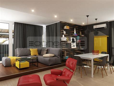 wohnung wohnzimmer designs acherno kreativ mit gelb und rot