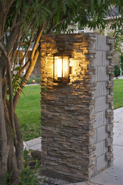 driveway pillars with lights outdoor update stacked stone pillar lights progress
