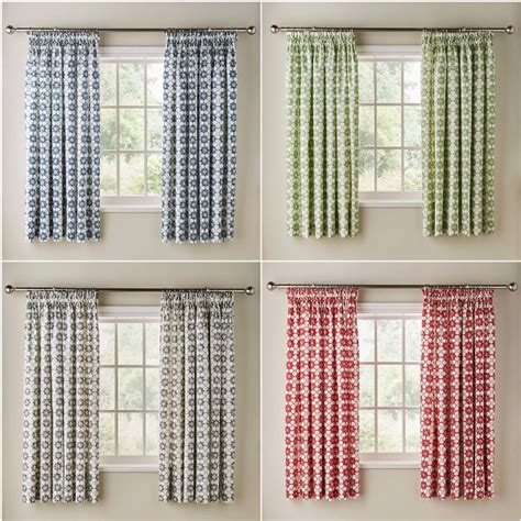 floral kitchen curtains floral print cotton pencil pleat new kitchen curtains with