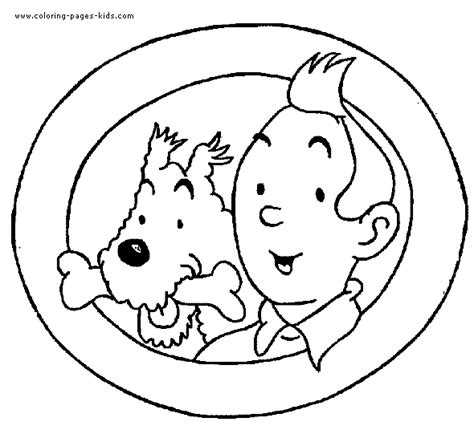 tintin color page coloring pages for kids cartoon
