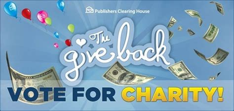 Publishers Clearing House 3rd Place Winner - vote for your favorite charity to win big pchgiveback not quite susie homemaker