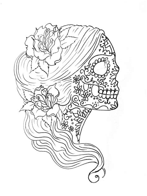 sugar skull tattoo outlines pictures coloring simple sugar skull drawing sugar skull coloring