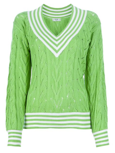 green knit sweater c 233 line vintage cable knit sweater in green lyst