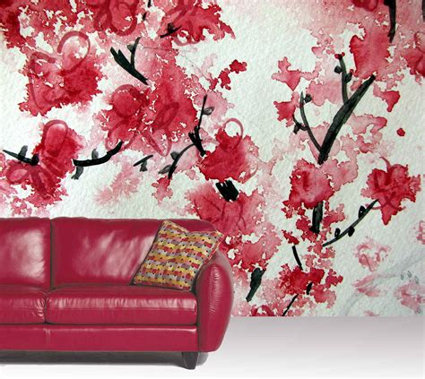 sakura flower mural wall painting youtube cherry blossom aquarelle wall mural 10 5 wide by 8 high ebay