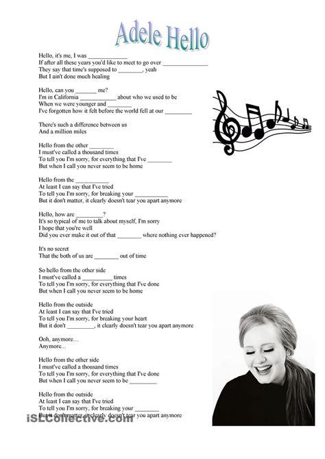 printable lyrics hello adele adele hello song esl worksheets of the day pinterest
