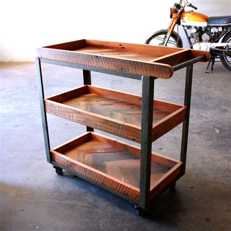 Industrial Loft Furniture by Industrial Bar Cart Reclaimed Wood Serving Cart Rustic