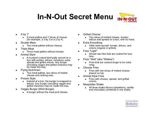 inn n out burger menu in n out secret menu x