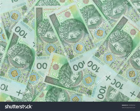 pattern on banknotes polish green bank notes money background stock photo