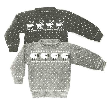 reindeer knitting patterns for jumpers child s sheep and reindeer sweaters knitting pattern