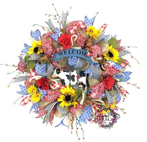 summer wreath summer decor summer door everyday wreath bee cow decor summer mesh burlap wreath rustic welcome