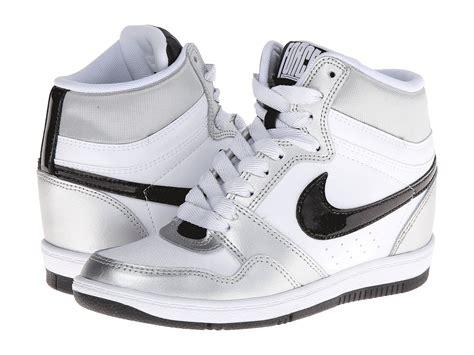 nike wedge sneakers white nike sky high sneaker wedge in white lyst