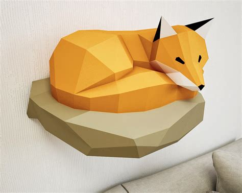 paper craft 3d papercraft fox on rock paper model 3d paper craft paper