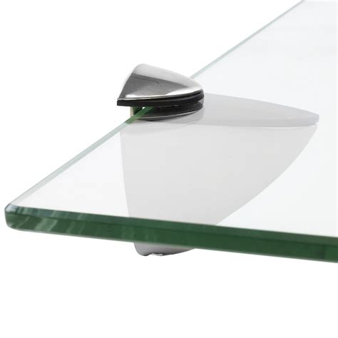 hartleys clear glass floating wall mounted shelf chrome