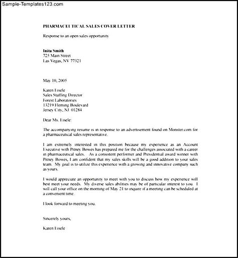 pharmaceutical sales cover letter pdf template free