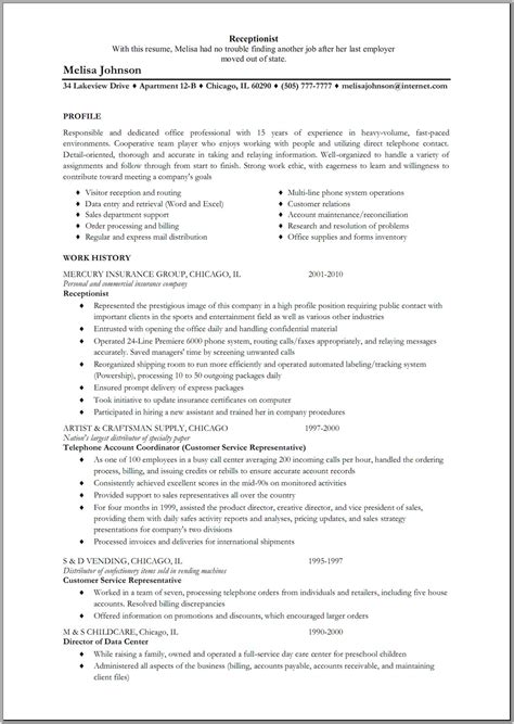 Resume For Receptionist Free Sle Of Resume For Receptionist Resume Format