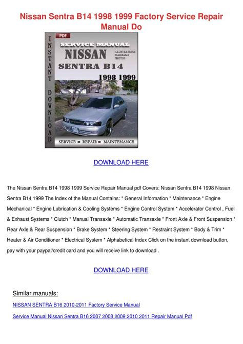 small engine repair manuals free download 2010 nissan 370z security system nissan sentra b14 1998 1999 factory service r by esteladodds issuu
