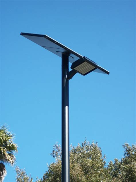 Solar L Post Lights Reduce Energy Costs by New Sustainable High Tech Lighting At Arroyo Burro
