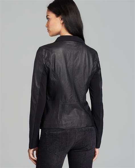 drape front leather jacket dkny drape front leather jacket in black lyst