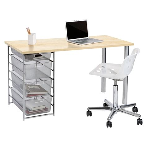sand platinum elfa mesh component desk the container store