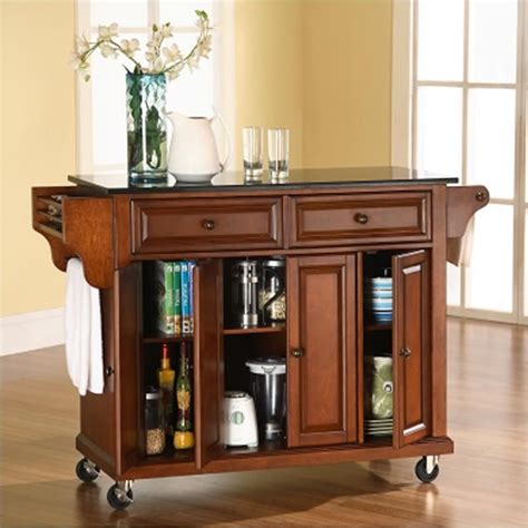 kitchen island with black granite top crosley furniture solid black granite top kitchen cart in