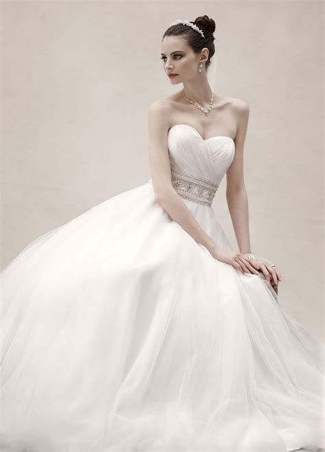 oleg cassini strapless tulle gown wedding dress with