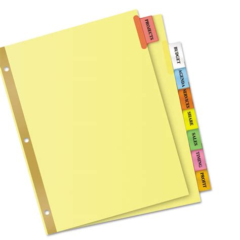 8 large tab insertable dividers template ave11111 avery insertable big tab dividers zuma