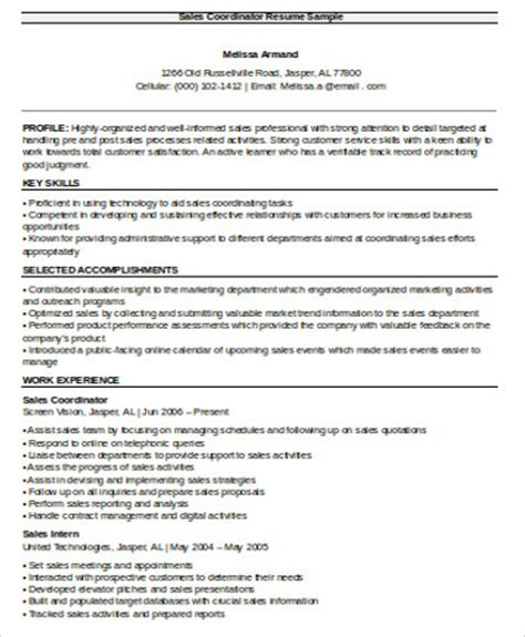 resume format for sales coordinator 11 sales resume sles sle templates