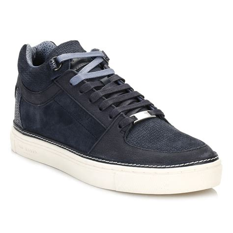 rubber sole sports shoes ted baker mens trainers blue komett lace up rubber