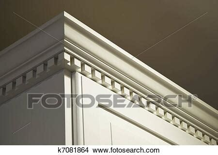 stock photo  solid wood kitchen cabinet crown moulding