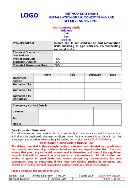 air conditioning method statement exle to download