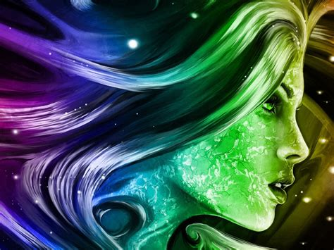 rainbow girl  fantasy abstract art digital hd wallpapers