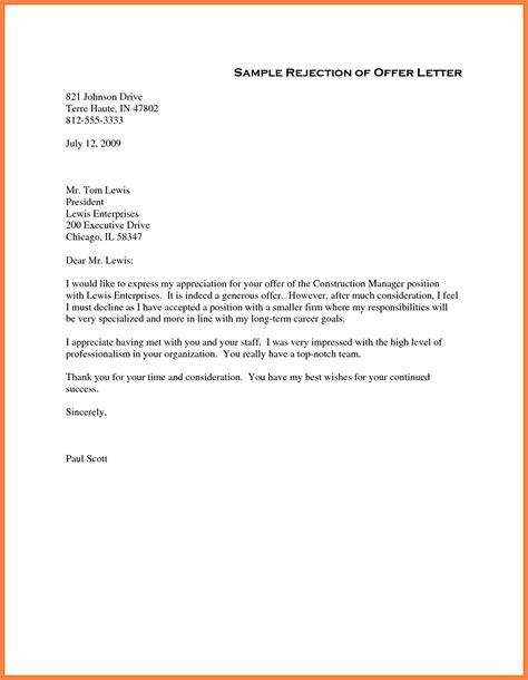 Employment Consideration Letter Format 5 Offer Rejection Letter Marital Settlements Information