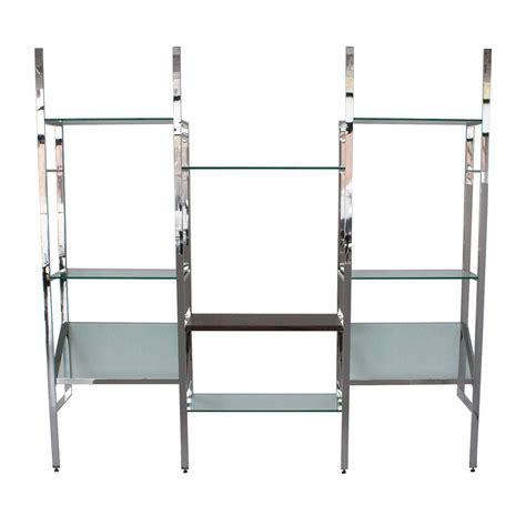 Wall Hung Shelves Milo Baughman Chrome And Glass Wall Mounted Shelving