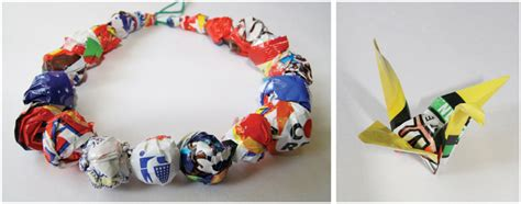 Crisp Packet Origami - crisp packet jewellery and origami upcycle reuse