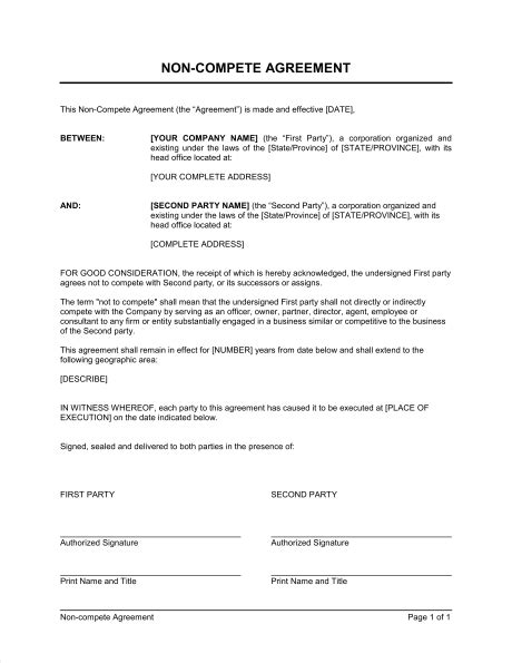 non compete agreement exle free printable documents