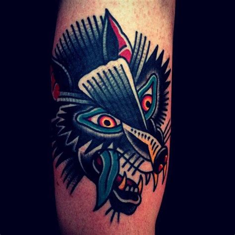 mark cross tattoo cross wolf traditional